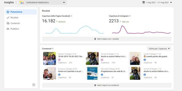 Facebook Insight panoramica dashboard